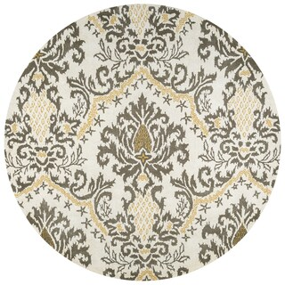 Rizzy Home Destiny Taupe Wool Hand-tufted Round Ikat Area Rug - 8' x 8'