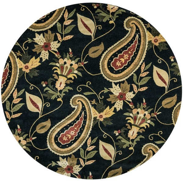 Shop Destiny Black Wool Paisley Patterned Hand Tufted