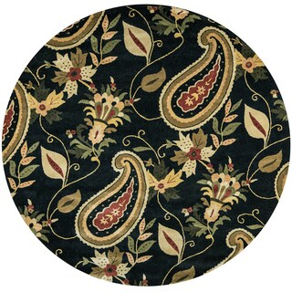 Destiny Black Wool Paisley-patterned Hand-tufted Round Area Rug - 8' x 8'