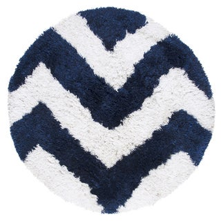 Hand-Tufted Commons navy Polyester chevron Round Area Rug (3' Round) - 3' x 3'