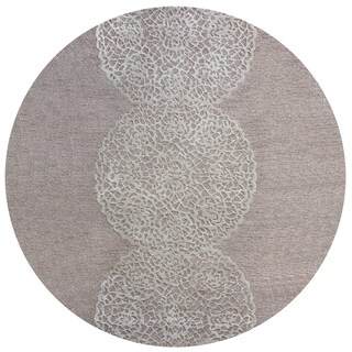 Rizzy Home Hand-tufted Dimensions Taupe Wool Medallion Round Area Rug (8' Round) - 8' x 8'