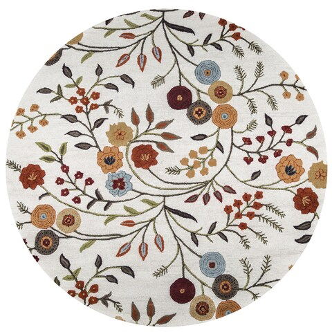 Rizzy Home Multicolored Wool Hand-tufted Round Area Rug - 8' x 8'