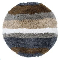 Rizzy Home Commons Collection Multicolored Hand-tufted Striped Round Area Rug (3') - 3' x 3'