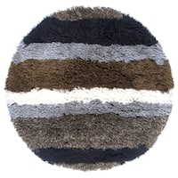 Rizzy Home Commons Polyester Hand-tufted Striped Round Area Rug - 3' x 3'