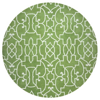 Rizzy Home Bradberry Downs Green Wool Hand-tufted Round Trellis Area Rug - 8' x 8'