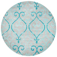 Rizzy Home Bradberry Downs Blue Wool Trellis Round Area Rug - 8' x 8'