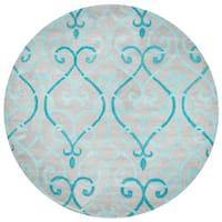 Rizzy Home Bradberry Downs Blue Wool Trellis Round Area Rug (8' Round) - 8' x 8'