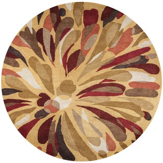 Rizzy Home Bradberry Downs Multicolor Wool Hand-tufted Round Abstract Area Rug - 8' x 8'