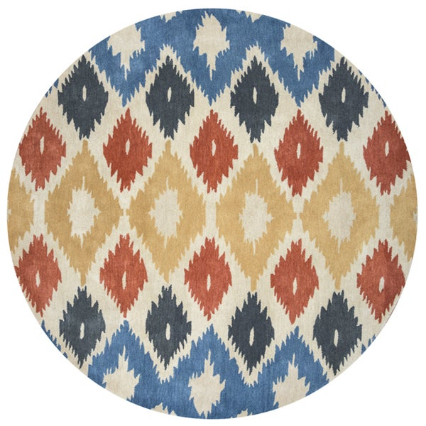 Rizzy Home Bradberry Downs Hand-tufted Wool Ikat Area Rug (8' Round)