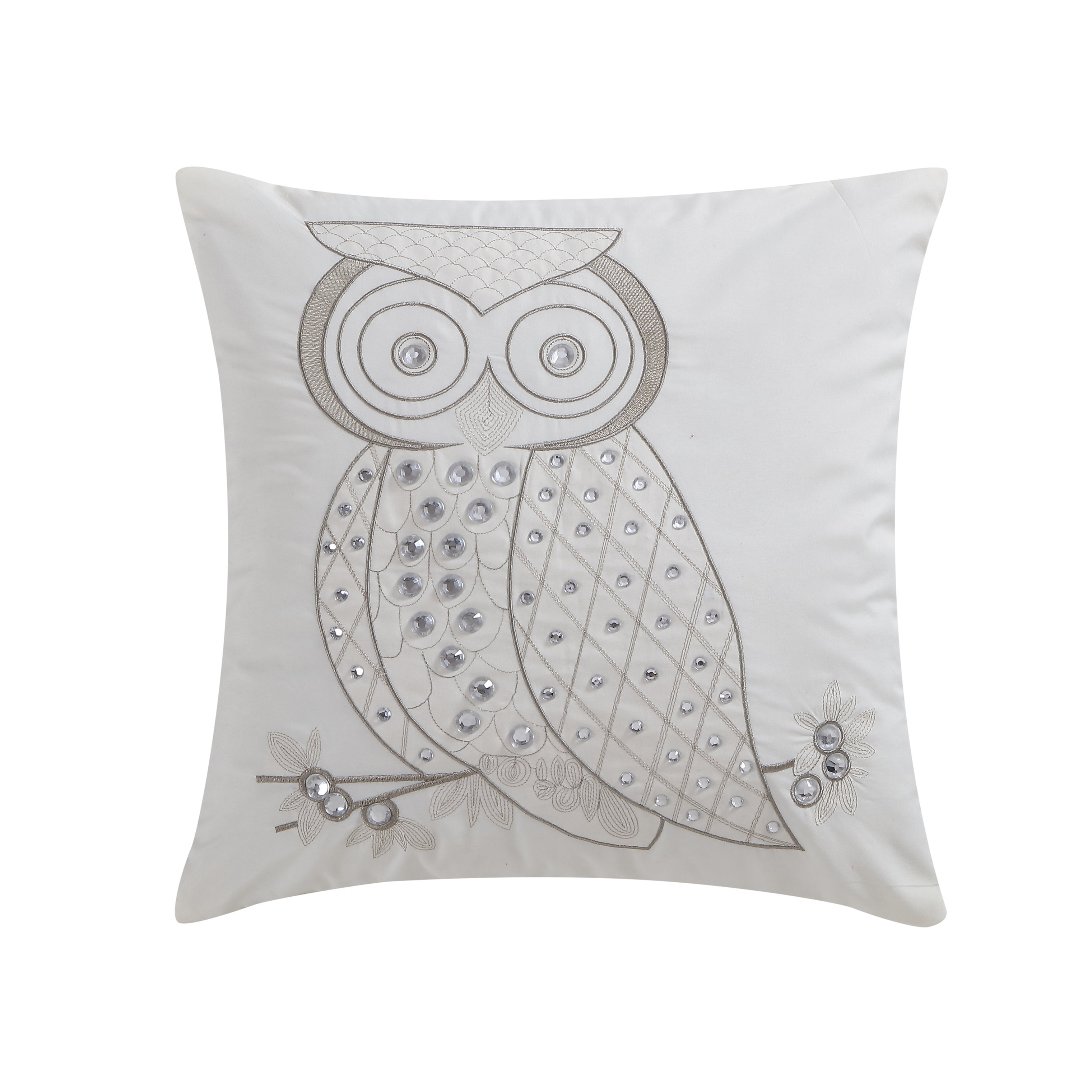 VCNY Home Owl Rhinestone Throw Pillow (Ivory)