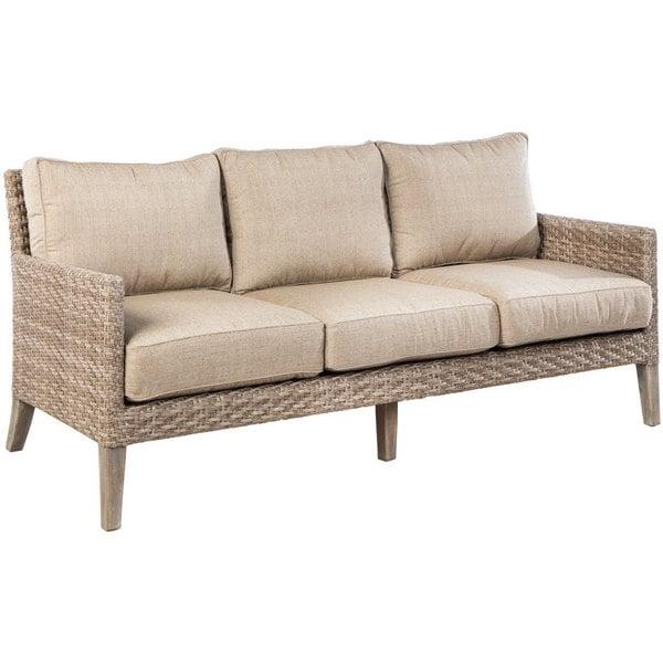 Shop Cornwall Woven Wood Deep Seating Sofa with Sunbrella Cast Shale ...
