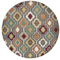 Rizzy Home Bradberry Downs Grey Wool Hand-tufted Round Trellis Area Rug (8' x 8')