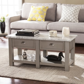 Yardley Faux Marble Rectangular Cocktail Table - Gray