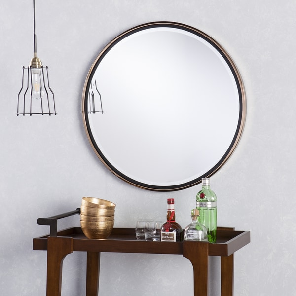 Holly Martin Wais Round Wall Mirror Black Champagne Gold