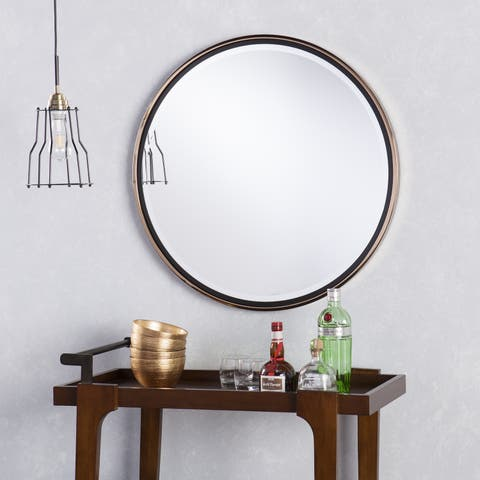84554cbeca55 Holly   Martin Wais Round Wall Mirror - Black Champagne Gold ...
