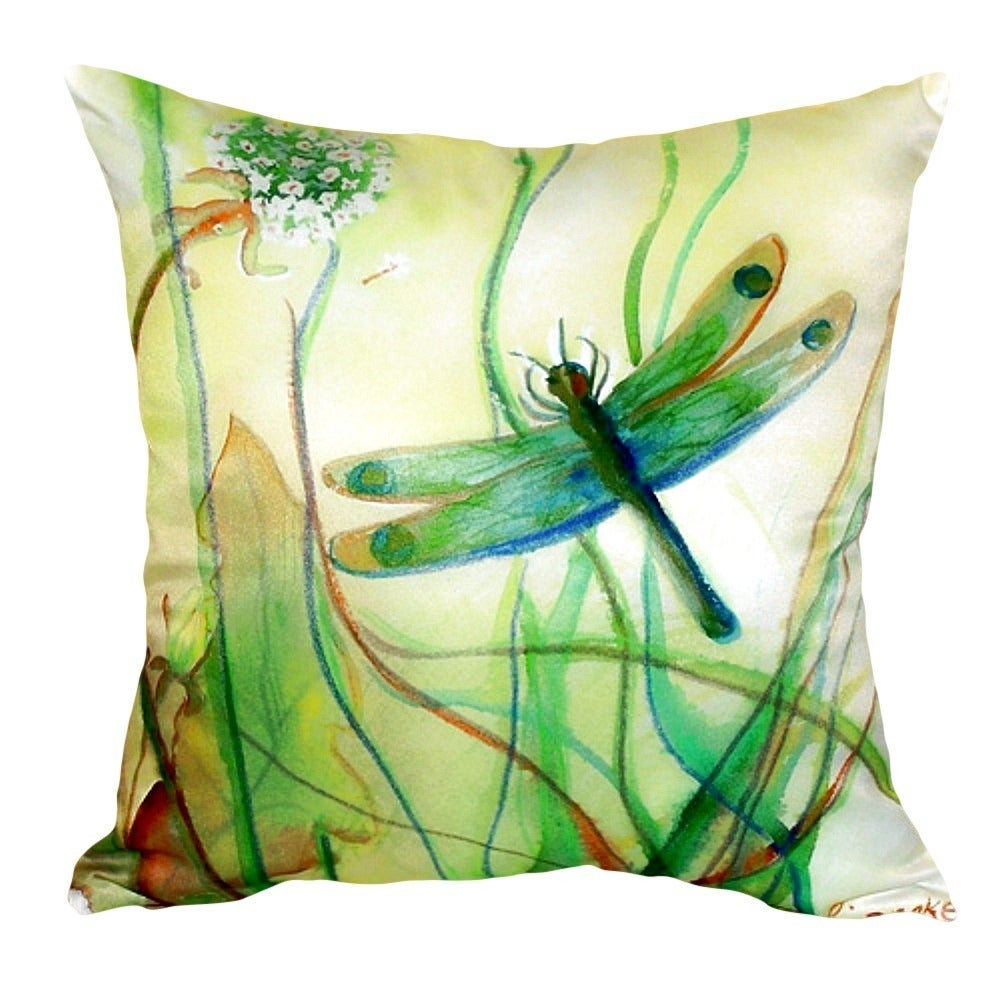 Betsys Dragonfly No Cord Throw Pillow (Size: 18 x 18)
