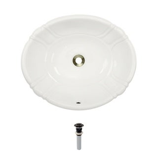 MR Direct O1815-Bisque Porcelain Vessel / Drop-In Sink with Pop-Up Drain