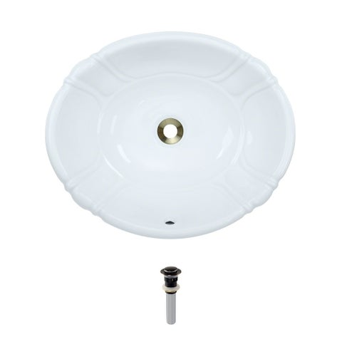 O1815-White Porcelain Vessel / Drop-In Sink with Pop-Up Drain