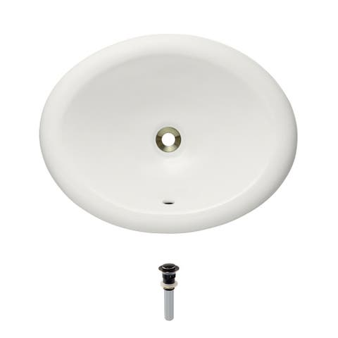 O1917-Bisque Overmount Porcelain Vanity Bowl with Pop-Up Drain