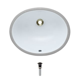 MR Direct UPS-White Porcelain Bathroom Sink with Pop-Up Drain