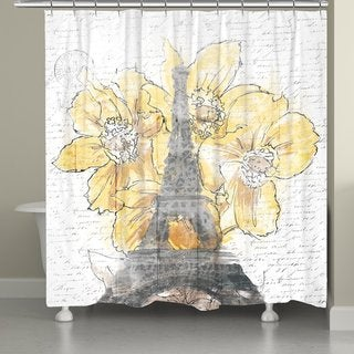 Laural Home Blooming Daffodils in Paris Shower Curtain
