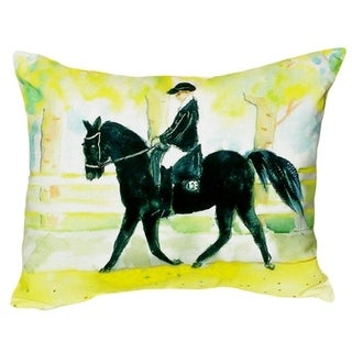 Black Horse and Rider No Cord Throw Pillow