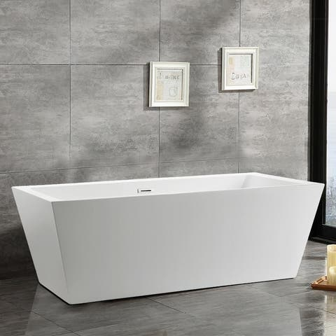 Vanity Art 67 Inch Freestanding Acrylic Bathtub Stand Alone Soaking Tub with Polished Chrome Slotted Overflow & Pop-up Drain