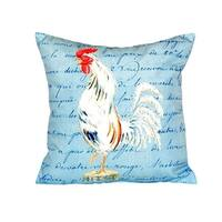 White Rooster Script No Cord Throw Pillow