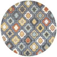 Rizzy Home Hand-tufted Bradberry Downs Blue Grey Wool Trellis Round Area Rug - 8' x 8'