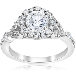 14k White Gold 1 3/8 ct TDW Diamond Clarity Enhanced Vintage Halo Engagement Ring