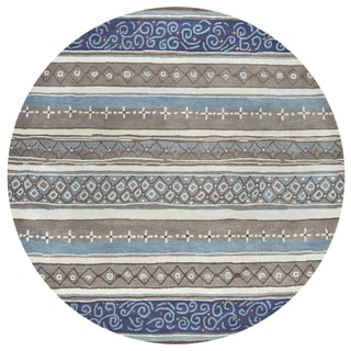 Rizzy Home Bradberry Downs Collection Hand-tufted Blue Wool Print and Stripe Area Rug (8' Round)
