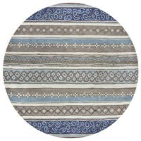Rizzy Home Bradberry Downs Collection Hand-tufted Blue Wool Print and Stripe Area Rug - 8' x 8'