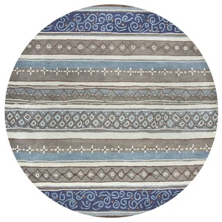 Rizzy Home Bradberry Downs Collection Hand-tufted Blue Wool Print and Stripe Area Rug (8' Round) - 8' x 8'