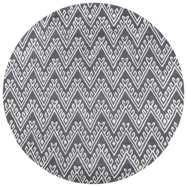 Chevron Denim Wool Rug: Shop Bradberry Downs Grey Wool Chevron Hand-Tufted Round