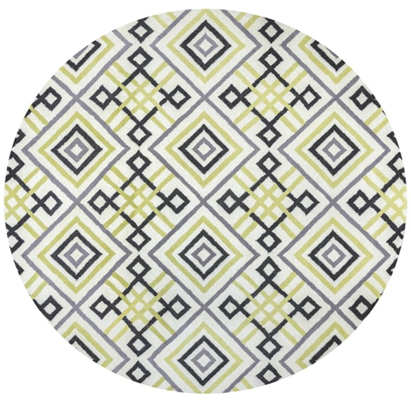 Rizzy Home Bradberry Downs Green Wool Hand-tufted Round Trellis Area Rug (8' x 8')
