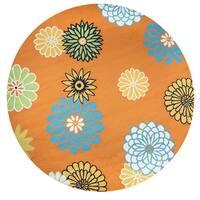 Rizzy Home Azzura Hill Orange Floral Round Area Rug - 8' x 8'
