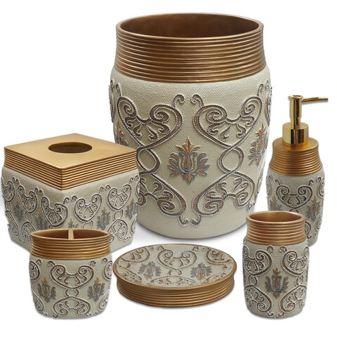 Savoy 6 Piece Bath Accessory Set or Separates- Gold/Ivory