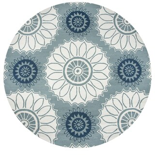 Rizzy Home Azzura Hill Sage Hand-tufted Round Medallion Area Rug - 8' x 8'