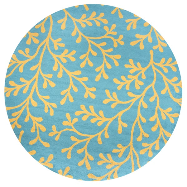 Azzura Hill Indoor/Outdoor Teal Polypropylene Botanical Hand-tufted Round Area Rug - 8' x 8'
