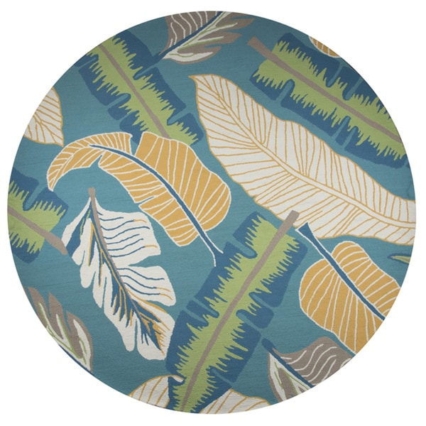Rizzy Home Azzura Hill Teal Hand-tufted Round Botanical Area Rug (8' x 8')
