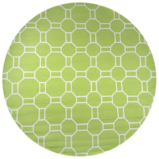 Hand-Tufted Azzura Hill Lime  Geometric Round Area Rug (8' Round)