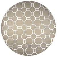 Rizzy Home Hand-tufted Azzura Hill Beige Wool Geometric Round Area Rug - 8' x 8'