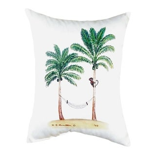 Palm Trees and Monkey No Cord Throw Pillow