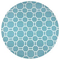 Rizzy Home Hand-tufted Azzura Hill Teal Geometric Round Area Rug - 8' x 8'