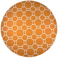 Rizzy Home Azzura Hill Orange Hand-tufted Round Geometric Area Rug - 8' x 8'
