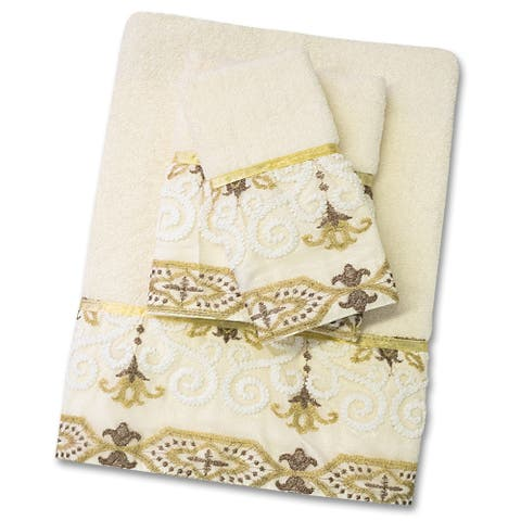 Savoy 3 Piece Towel Set- Gold/Ivory