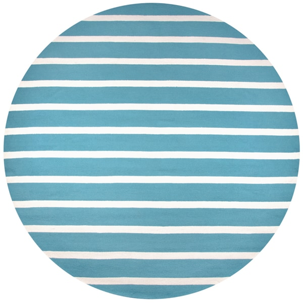 Rizzy Home Azzura Hill Collection Teal Hand-tufted Striped Round Area Rug (8' x 8')