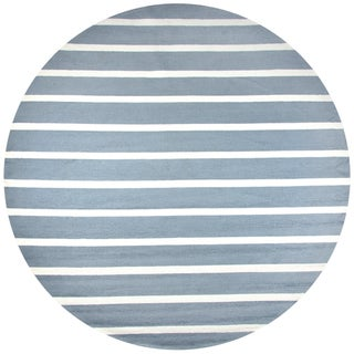 Rizzy Home Azzura Hill Grey Hand-tufted Strips Round Area Rug (8' Round) - 8' x 8'