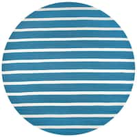 Rizzy Home Azzura Hill Collection Marine Blue Hand-tufted Round Area Rug - 8' x 8'