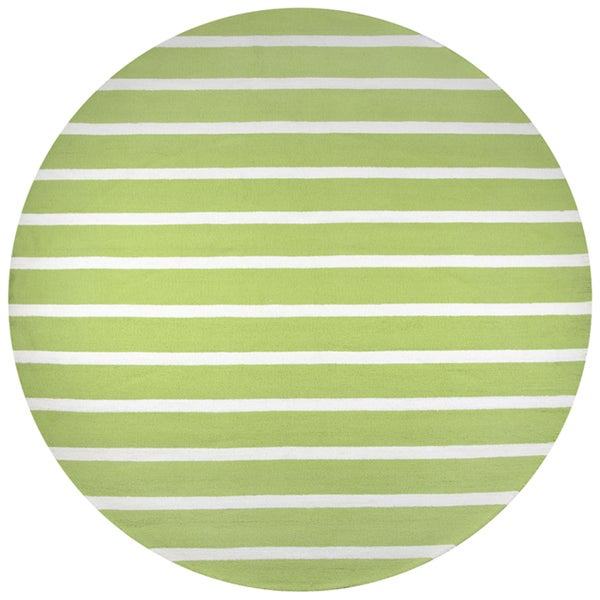 Rizzy Home Azzura Hill Collection Lime Stripe Hand-tufted Round Area Rug (8' x 8')